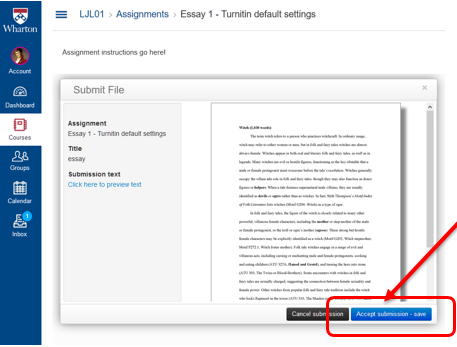 "Example of where to find the ""Accept submission - save"" button."