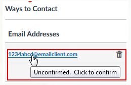 Cursor clicking on the email address that needs to be confirmed.