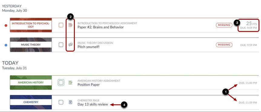 View of the new student dashboard that indicates where to find item-types based on icons (for example, assignments), due dates, item names (for example,